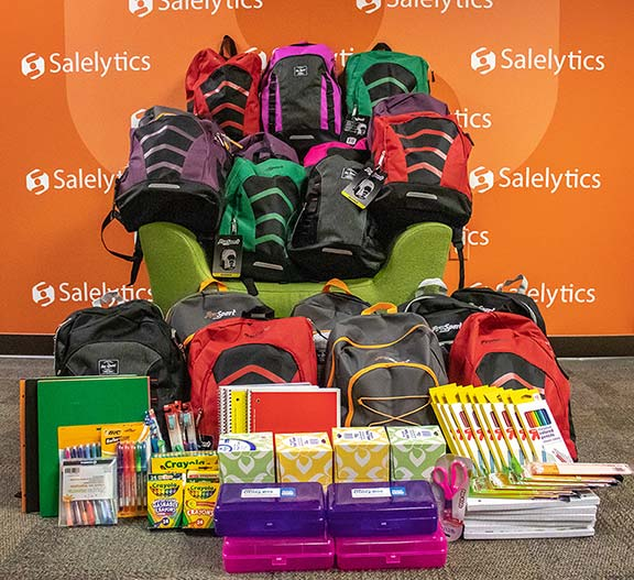Back To School Supplies / Backpacks.  Salelytics filled backpacks to help those employees who may need some assistance with back to school shopping.